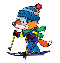 funny fox rides on skis vector image vector image
