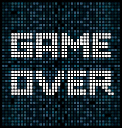 Game over text on a pixel background vector
