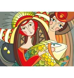 Girl Man Fish vector image vector image