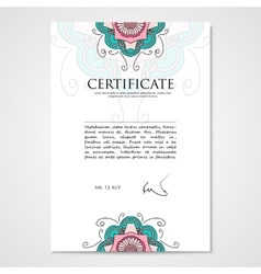 Graphic design template document with floral hand vector image vector image