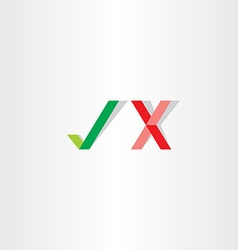 Green red check mark yes no icon vector