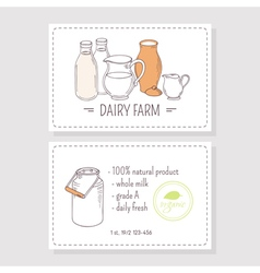 Hand drawn milk goods business cards template vector