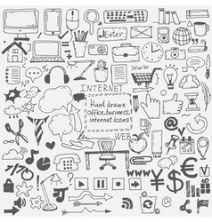 Hand drawn sketch icons for businessinternet and vector