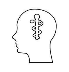 Human profile with caduceus symbol vector