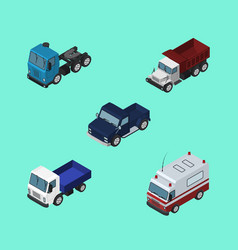 Isometric transport set of first-aid lorry truck vector