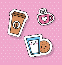 kawaii coffee cup milk cookie breakfast vector image