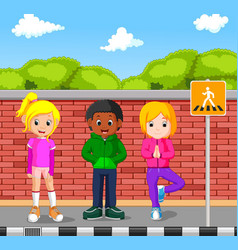 kids walking on the pedestrian vector image