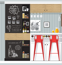 kitchen bar interior vector image vector image