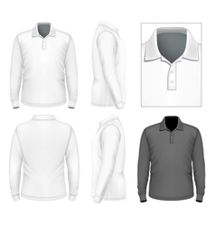 Mens long sleeve polo-shirt design template vector image