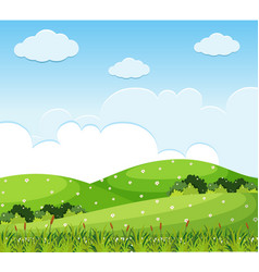 nature scene with flowers on the hills vector image vector image
