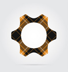 Orange black tartan isolated icon - cogwheel vector