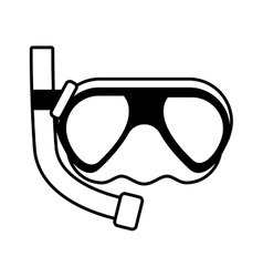 Outline diving mask tube sea beach vector