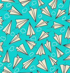 Paper planes and clouds seamless texture on a blue vector image