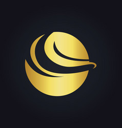 Round abstract wave gold logo vector