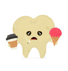 sad sick dirty unhealthy tooth vector image vector image