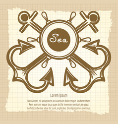 Sea emblem with handwheel and anchors vector
