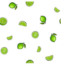 seamless pattern of whole and half green lime vector image vector image