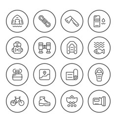 Set round line icons of camping vector
