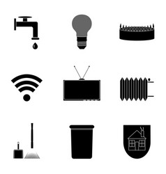 utilities icon set black silhouette vector image vector image