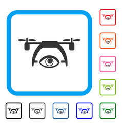 Video spy drone framed icon vector