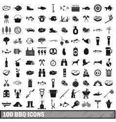 100 bbq icons set simple style vector image vector image