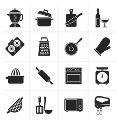 Black cooking tools icons vector
