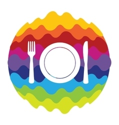 Food and drink rainbow color icon for mobile vector