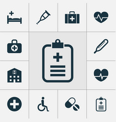 Medicine icons set collection of polyclinic vector