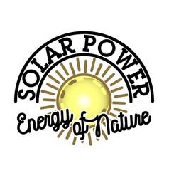 color vintage solar panels emblem vector image