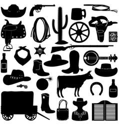 Cowboy pictograms vector