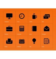 Business icons on orange background vector image