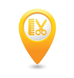 hairdressing salon icon yellow map pointer vector image