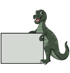 Tyrannosaurus Rex holding blank sign vector image