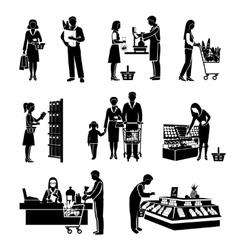 Supermarket people black vector