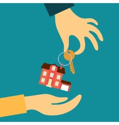 Hand real estate agent holding transmits a key vector