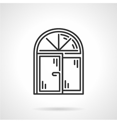 Arched window black line icon vector
