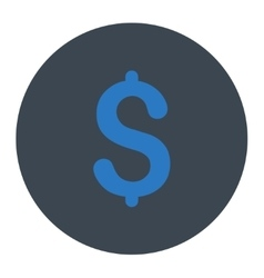 Dollar flat smooth blue colors round button vector