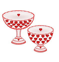 Cups with red hearts decoration ceramic porcelain vector