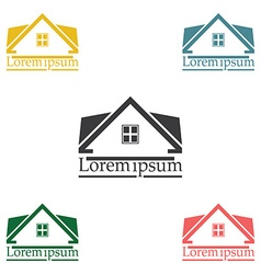 Real estate raster logo design template color set vector