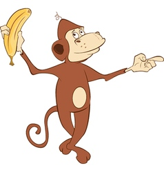 Cheerful monkey and banana cartoon vector