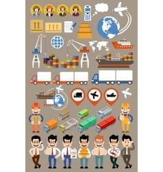 Freight transportation and delivery logistics flat vector image