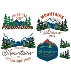 Set template in retro style with mountains spruces vector