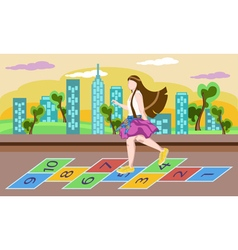 Little girl on playground playing hopscotch game vector