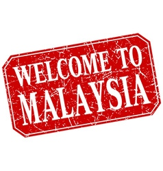 Welcome to malaysia red square grunge stamp vector