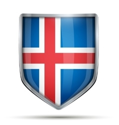 Shield with flag iceland vector