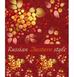 Traditional ornamental stripe in zhostovo style vector