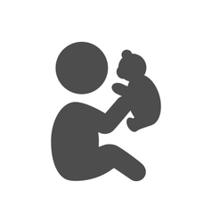 Baby plays with teddy bear pictogram flat icon vector image vector image