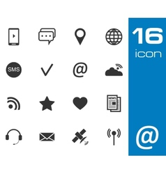 black Communication icons set on white background vector image vector image