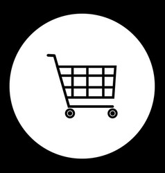 Black shopping cart simple isolated icon eps10 vector