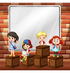 Border design with children and boxes vector